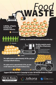 This infographic illustrates the morbid statistics of food wastage here in America and Europe compared to other parts of the world.