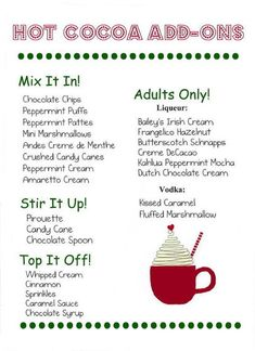 hot chocolate bar We own a horse farm and run a horse boarding and training business. Each December, just before Christmas, we host a holiday party at our farm for the people who boar Hot Chocolate Party, Cocoa Party, Christmas Hot Chocolate, Hot Chocolate Recipes, Hot Chocolate Mix, Christmas Brunch, Christmas Drinks, Christmas Treats, Christmas Baking