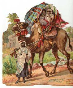 Victorian Camel Caravan Middle East Arab Men Scrap 1880s