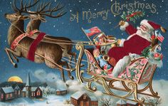 Moonlight & Roses Santa riding in his sleigh     wall board