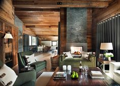 A Luxury Family Chalet in Saas Fee, Switzerland Family Room Living Cottage Craftsman Farmhouse French Country by Nicky Dobree
