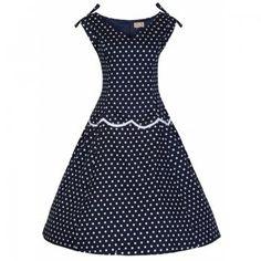Hilda Blue Polka Swing Dress | Vintage Inspired Fashion - Lindy Bop