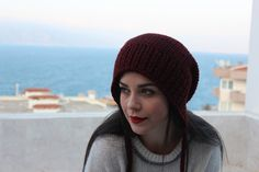 Your place to buy and sell all things handmade Dark Red, Red Black, Red Berets, Hand Knitting, Knitted Hats, Dangles, Winter Hats, Unisex, This Or That Questions