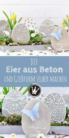 DIY Osterdeko: Beton-Eier und Gießform selbst machen – Dekoideenreich DIY spring and Easter decorations: Concrete eggs and the casting mold for them yourself. Great patterns can be conjured up with silicone mats and stencils. Diy Osterschmuck, L Wallpaper, Make Your Own, Make It Yourself, Diy Ostern, Diy Easter Decorations, Diy Art, Diy And Crafts, Decor Crafts