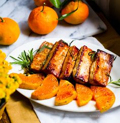 Citrus-Tamari Rosemary Maple Tofu Steaks with Warm Satsuma Wedges