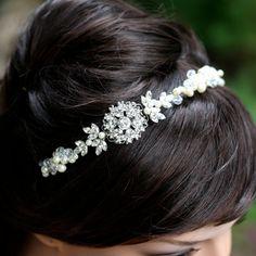 LuluSplendor Etsy shop - Carla is working on a bridal ribbon headband with light pink satin ribbon!