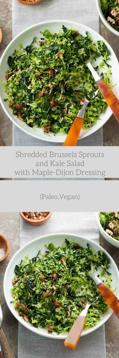 This shredded Brussels sprout and kale salad with maple-Dijon dressing is a fresh, make-ahead alternative to heavier holiday sides.