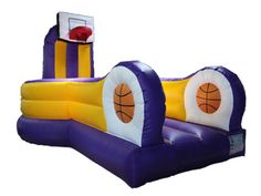 Slam Dunk Rental, Inflatable Slam Dunk Game, Rent Slam Dunk Game 800-873-8989    Show off your moves with this Slam Dunk basketball inflatable game. Run, Bounce, and Dunk to your hearts content! Perfect for sports parties and events, and Laker Game Days. This Purple and Gold basketball inflatable is sure to be a hit during basketball tournaments, fundraisers, and carnival style events. Perfect for teens to adults to try out their best Slam Dunks. 1 Basketball Included.