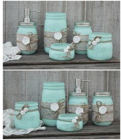 Mason Jar Bathroom Set, Mint Green, Shabby Chic, Soap Dispenser, Bathroom Jars, 5 Piece, Burlap, Rustic, Distressed, Beach Decor, Metal Pump