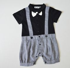 Fabal Summer Gentleman Bowtie Short Sleeve Shirt+Overall Pants Sets for Infant Baby Boys Girls