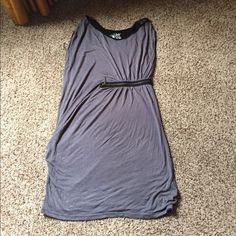 Grey/Blk Zipper Dress Like New Grey/Blk Zipper Dress. Gold zipper. Worn once. Fits like XL/1X Dresses