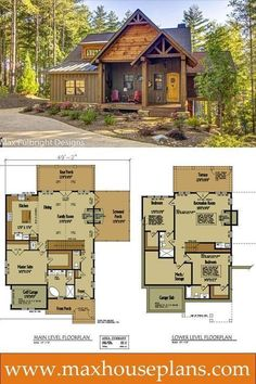 Small rustic cabin design with open floor plan by Max Fulbright. #houseplans (I really like this, but want a 2 car garage, and the master bath can be a little smaller—maybe add linen closet for blankets, etc.)