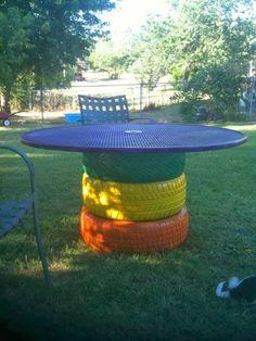 Reciclagem e Sucata: Como reutilizar pneus velhos? Faça uma mesa!