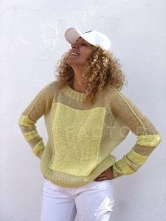 Knit Mohair sweater Loose oversize fit Quality mohair hand knit Wool sweater Striped sweater Ready to ship Hand knit pullover Yellow jumper - Pulli Sitricken Mohair Sweater, Loose Sweater, Wool Sweaters, Knitwear Fashion, Knit Fashion, Crochet Shirt, Knitting Designs, Hand Knitting, Beginner Knitting
