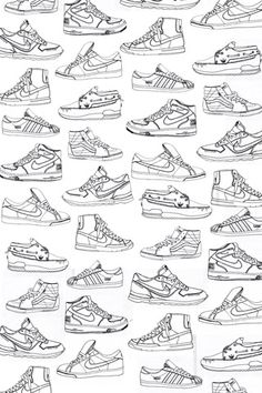 Poolga - White Sneakers - For the teen Nike Drawing, Body Drawing, Sneakers Wallpaper, Shoes Wallpaper, Pin Up Drawings, Art Drawings Sketches, Drawing Skills, Drawing Reference, Cartoon Shoes