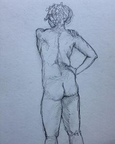 Otra de mis pasiones es dibujar al desnudo con modelo en vivo. Es sentir la línea, las formas, la esencia del cuerpo. | 5 min.  #sketch #drawing #art #doodles #dibujo
