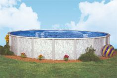 'Silver Lake' - A beautifully designed marble pool wall with a sturdy steel frame that is built to last. If you're looking to add some excitement to your backyard, call or email us today! Best Above Ground Pool, Above Ground Swimming Pools, In Ground Pools, Doughboy Pool, Above Ground Pool Landscaping, Pool Installation, Pool Supplies, Pool Builders