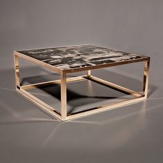 The polished brass contrast against the petrified wood. Contrasting materials. Geometric shape.