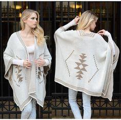 Diamond Back womens poncho cape wrap by Blivingstonapparel