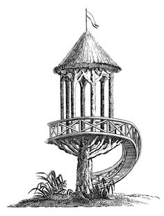 Antique Clip Art - French Garden Structure - Treehouse - The Graphics Fairy