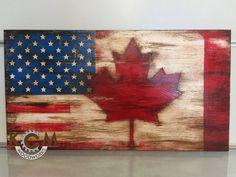 f92a744e5cbf9d 36x18 Engraved US American Canada Combo Flag
