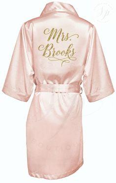 Bride Robe - Wedding Day Robe - Glitter Bridal Robe - Bride Satin  - Bridal Lingerie Shower Gift - Bridesmaid Robe -Blush Robe by ShadesOfPinkBtq on Etsy https://www.etsy.com/nz/listing/497031507/bride-robe-wedding-day-robe-glitter