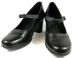 Clarks Bendables Shoes Womens Size 8.5 M Black Leather Mary Janes Heels #Clarks #MaryJanes