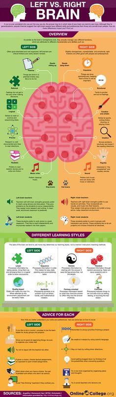 Left v Right Brain - Infographic #edchat #education #Biology #stem