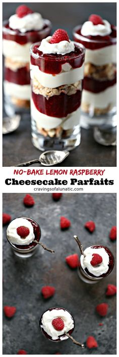 No Bake Lemon Raspberry Cheesecake Parfaits from http://cravingsofalunatic.com- These No Bake Lemon Raspberry Cheesecake Parfaits are incredibly quick and easy to make. Lemons and raspberries combine perfectly in this sweet treat. #sponsored #bornonthefarm