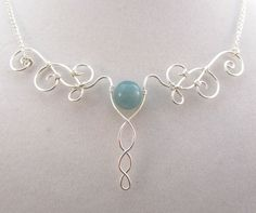 Wire Wrapped Elven Necklace - Silver and Blue - Elven Collar - Elegant Filigree - Celtic, Medieval. $25.00, via Etsy.