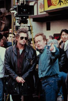 "Michael Douglas and Ridley Scott on the set of ""Black Rain"" (1989). DIRECTOR: Ridley Scott."