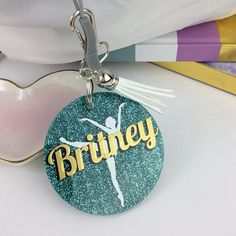 Ballet dancer on toe glitter bag tag Personalized bag tag Dance Team Gifts 690d12eb8cae2