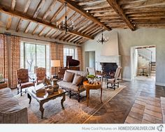 Silverleaf Residence Tuscan - contrast between  refined furniture/ piano & the rustic finish of the ceiling