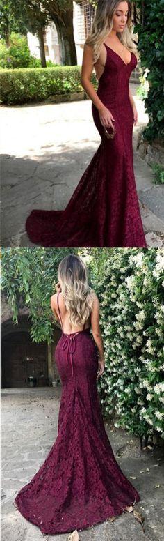 Sexy Prom Dresses,Lace Prom Dresses,Burgundy Prom Dresses,2018 V Neck Spaghetti Strap Long Evening Dress