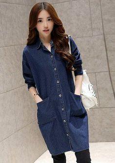 Buy Denim Button Up Shirt Dress | mysallyfashion.com Malaysia