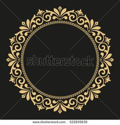 Decorative line art frame for design template. Elegant vector element Eastern style, place for text. Golden outline floral border. Lace illustration for invitations and greeting cards