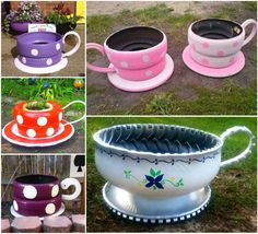 Here is a nice green idea of turning the old tyres into beautiful teacup planters ! Video turorial--> http://wonderfuldiy.com/wonderful-diy-beautiful-teacup-tyre-planter/ #diy #planter #gardening