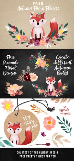 Free Autumn Fox and Flowers Graphics #FreeGraphics #Fox #FreeFoxGraphic #FreeClipart #Clipart
