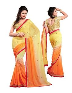 Fahiongroop Orange Faux Chiffon Border Work Saree With Blouse Piece Indian Designer Sarees, Work Sarees, Chiffon Saree, Online Collections, Party Wear Sarees, Indian Ethnic, Sarees Online, Bollywood, Sari