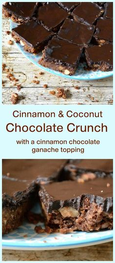 Cinnamon & Coconut Chocolate Crunch Traybake with a Cinnamon Chocolate Ganache Topping. Crunchy and delicious. Great for parties, both kids and adults will love them.
