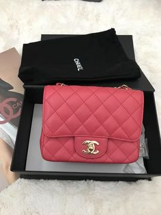 cb48d891e660 Chanel 17C pink caviar Square Mini Flap Quilted Bag Crossbody light GHW  Used Chanel Mini Square