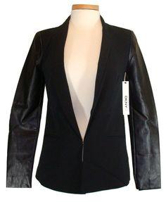 DKNY Donna Karan Womens Jacket Blazer Vegan Leather Black Sz 0 NEW NWT $169 #DKNY #BasicJacket