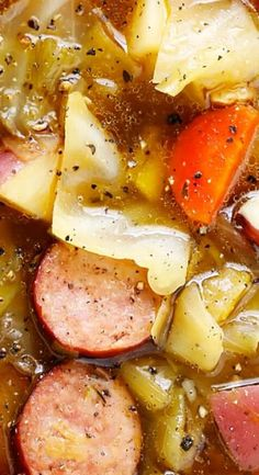 Cabbage, Potato and Cabbage Soup This Cabbage, Sausage and Potato Soup recipe is nice and hearty and comforting, it's full of the best savory flavors, and it's guaranteed to warm you right up! Cabbage Sausage Potato, Sausage Potatoes, Sausage Soup, Cabbage And Potato Soup, Cabbage Stew, Kielbasa Soup, Cabbage Vegetable, Kielbasa Sausage, Healthy Dinner Recipes