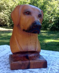 Wood Carving Dogs Head Lifesize Labrador by lacecurtainvintage