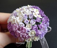 MINIATURE FLOWERS You will receive a set of assorted flowers in Purple & White theme. Note: photos 1, 2 & 5 shows about 60 stalks. Furniture & all other props not included. Measurement: Height of each stalk = 6cm ~ 6.5cm Diameter of each flower = 0.5cm ~ 1cm You can cut the stalk/stem