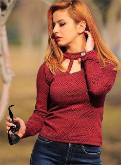 Bayan Bluz Triko Yaka Kesik Zigzag Desenli Kırmızı| Modelleri ve Uygun Fiyat Avantajıyla | Modabenle