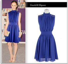 Graceful Dark Blue Chiffon Ladies Evening Cocktail Party Dress