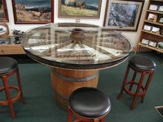 Barrel and Wagon Wheel table