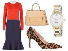 <navy pants (skirt?), red top, leopard flats>