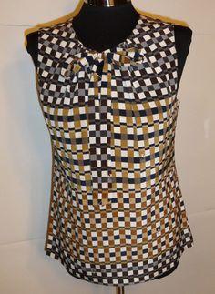New Tory Burch Womens Silk Blouse Print Size 6 Tanya Shirt Top Sleeveless Logo   eBay